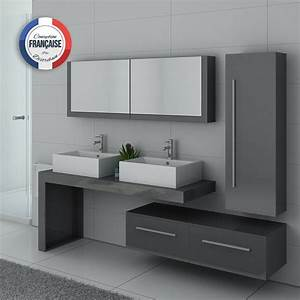 meuble double vasque gris taupe dis9350gt meuble de salle With meuble salle de bain double vasque gris