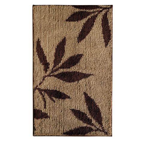 interdesign leaves      bath rug  browntan