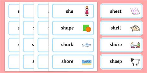 sh sound word cards primary resources