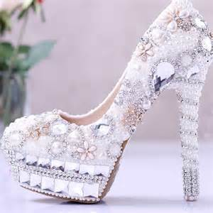 wedding dress shoes aliexpress buy pearl wedding dress shoes rhinestone bridal shoes high heel platform pumps