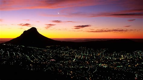 14 Cape Town, South Africa, City, Night, Light, Sunrise ...
