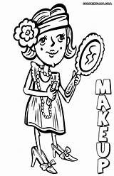 Makeup Coloring Pages Colorings Print Funny sketch template