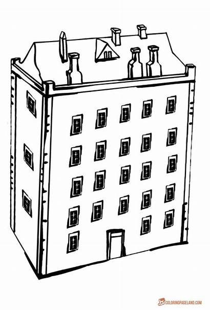 Coloring Pages Printable Building Colouring Apartment Sheets