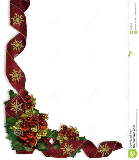 christmas ribbons  baubles border stock illustration