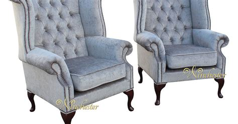chesterfield offer pair fabric high back wing