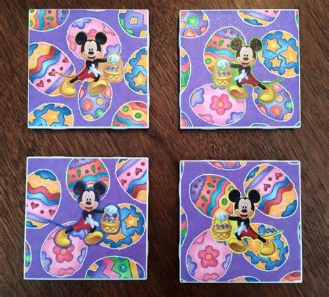 mickey mouse easter coasters i made plain white tile