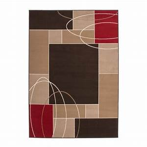tapis de salon avec moulure 10 mm marron rouge blanc With tapis rouge avec canapé 145 cm