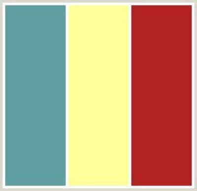 yellow walls red couch and teal and white accent colors
