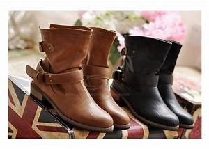 00 Size Chart Casual Chunky Heel Short Boots Pure Color And Buckle