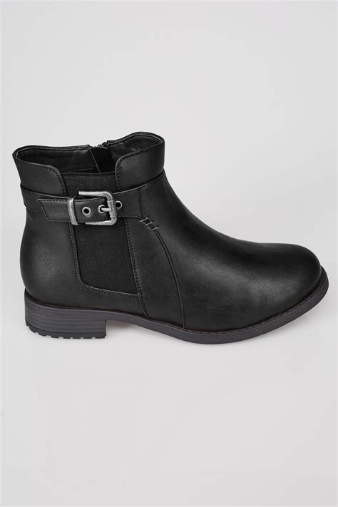 D Link Best Buy Black Chelsea Ankle Boot With Buckle Detail In Eee Fit