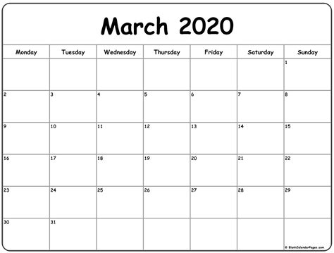 march  monday calendar monday  sunday