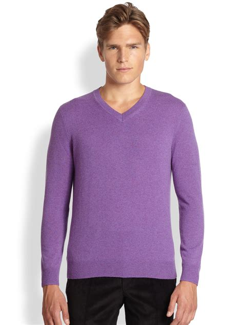 sweaters for saks fifth avenue v neck sweater in purple for