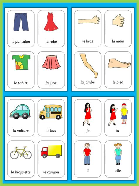 French Flash Cards Basic Vocabulary  French Lessons