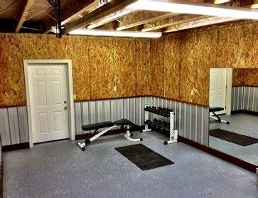 home gym contemporary home gym corrugated metal garage walls plywood walls home