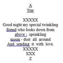 A Star Shape poem