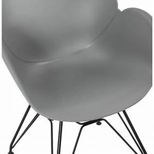 Chaise Pied Metal Noir : chaise design style industriel tom en polypropyl ne pied m tal noir gris clair ~ Teatrodelosmanantiales.com Idées de Décoration