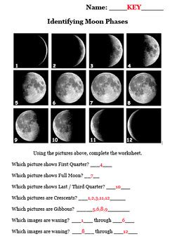 earth space science astronomy identifying moon phases
