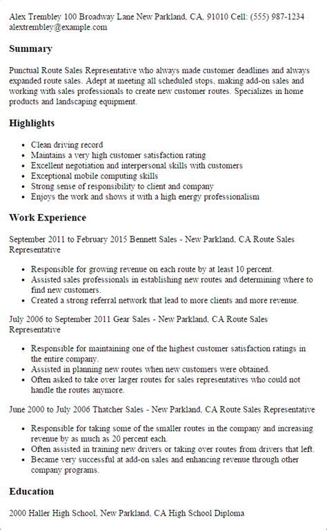 route sales representative resume templates