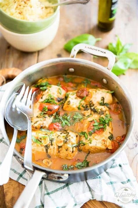 easy poached fish recipe in tomato basil sauce the healthy foodie