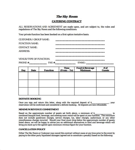 sample catering contract templates  word apple