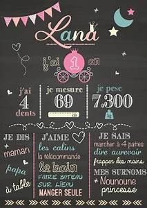 affiche anniversaire personnalisable fille princesse With affiche chambre bébé avec fleurs anniversaire de mariage