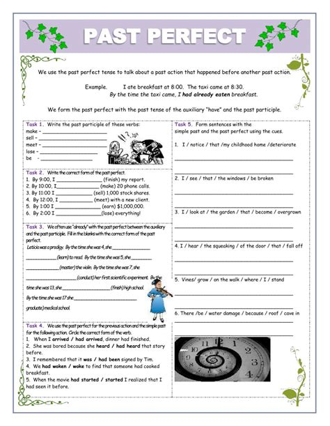 Past Perfect Tutor  Exercises  Interactive Worksheet