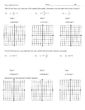 slope intercept form worksheet homework practice quiz test y mx b mx b