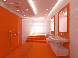 Couleur Mur Salle De Bain : la couleur orange s infiltre dans la salle de bains ~ Dode.kayakingforconservation.com Idées de Décoration