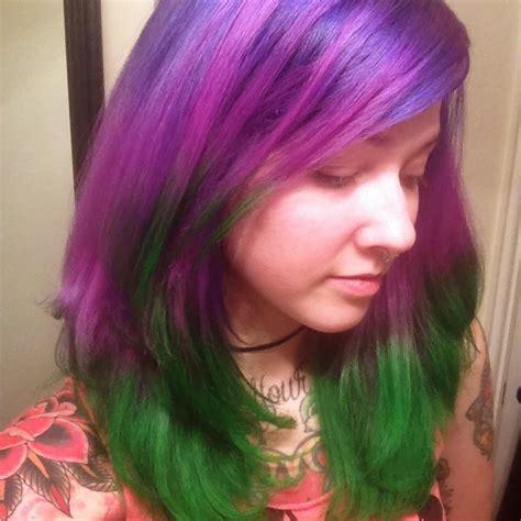 OMGLITZY Purple and Green Hair