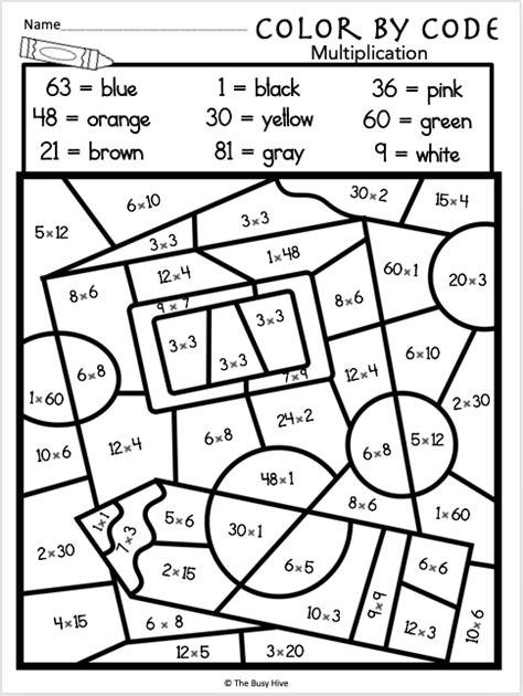 color  multiplication code worksheet  images