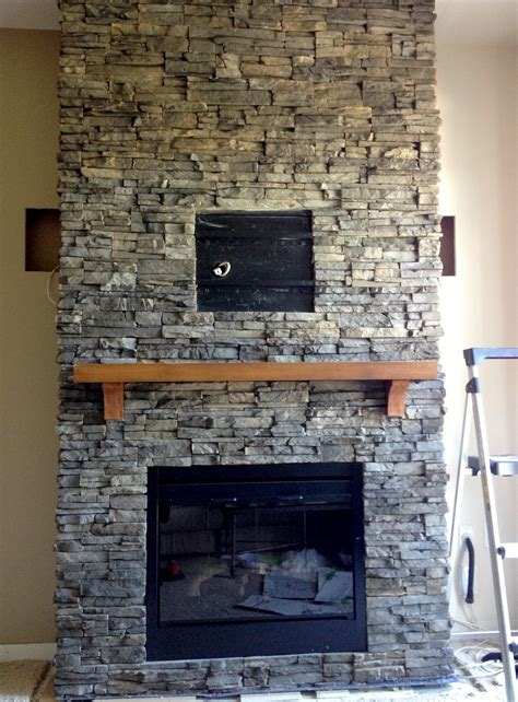 stacked for fireplace hirondelle rustique diy stacked stone fireplace first remodeling project part 2