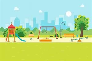 Cartoon Urban Park Kids Playground. Vector Stock Vector ...