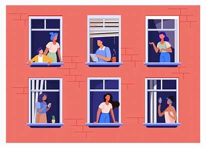 Apartment Building Window Open Vector Housing Spaces