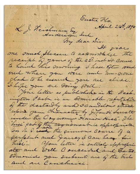 closing a letter lot detail eyewitness letter to president abraham 46796