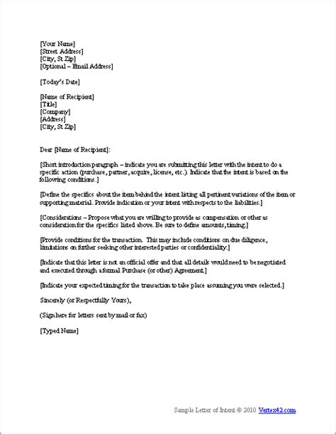 Letter Of Interest Sle Template by Letter Of Interest Format Template Letter Of Intent Template