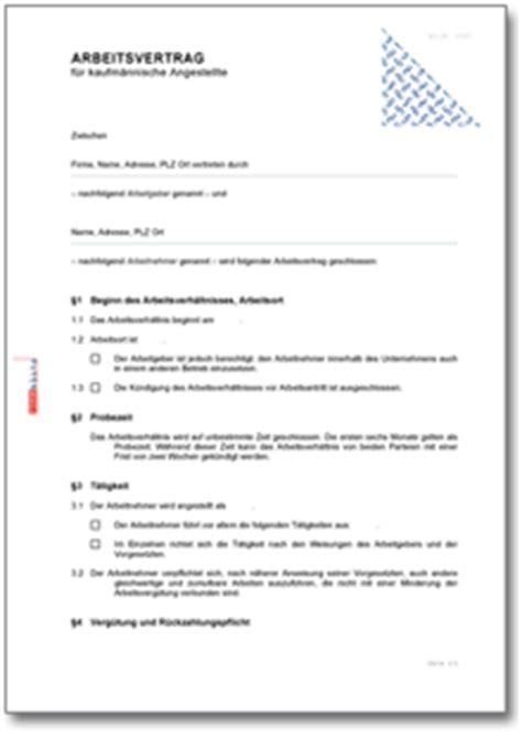 arbeitsvertrag kaufmaennische angestellte muster