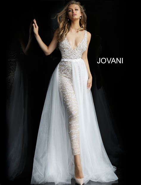 jovani  nude white beaded  neck wedding jumpsuit