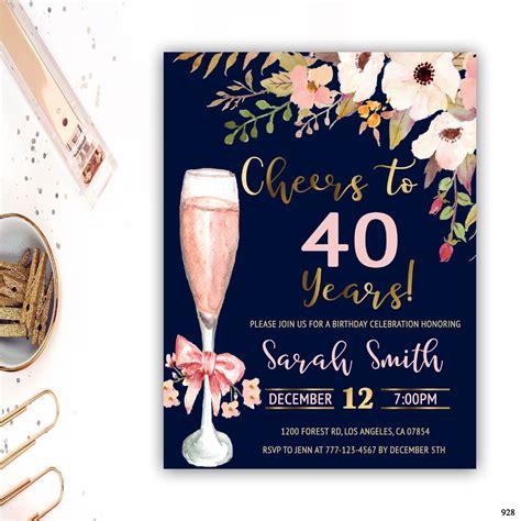 40th birthday invitation for women adult birthday