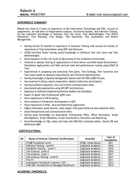 Test Analyst Resume Summary by Rakesh Work Profile Resume Senior Test Analyst