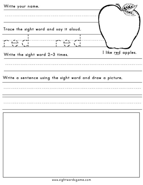 Color Worksheets - Sight Words, Reading, Writing, Spelling