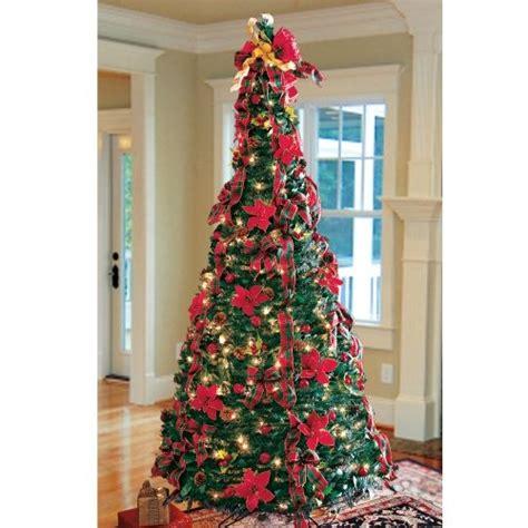 prelit art christmas trees plaid pull  tree