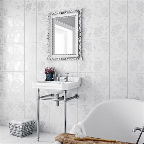 laura ashley isadore field white wall tile mm  mm
