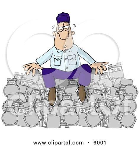 overworked repairman sitting   pile  broken gas