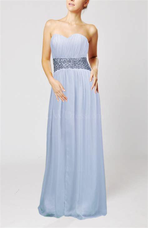 ice blue simple sheath sleeveless floor length sash