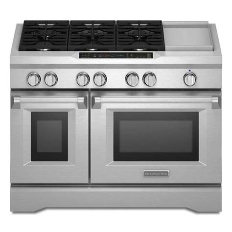 kitchen aid oven shop kitchenaid 48 in 6 burner 4 1 cu ft 2 2 cu ft self