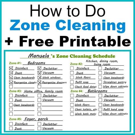 zone cleaning  printable zone cleaning