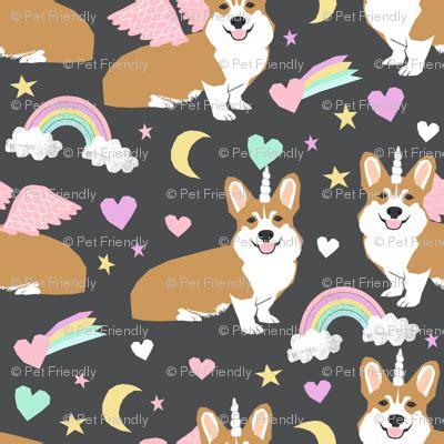 corgi unicorn pastel fabric cute corgi illustration design