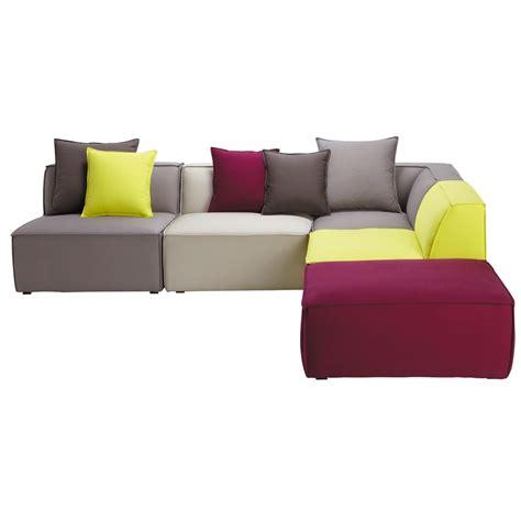 canapé d angle modulable canapé d 39 angle modulable 5 places en coton multicolore