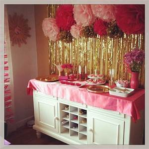 Kids party (pink, white, gold decorations) | Party Ideas ...