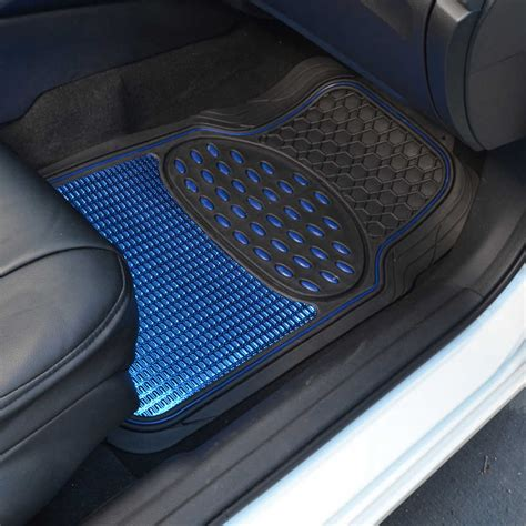 floor mats vinyl shiny blue metallic finish vinyl floor mat and faux leather steering wheel cover ebay